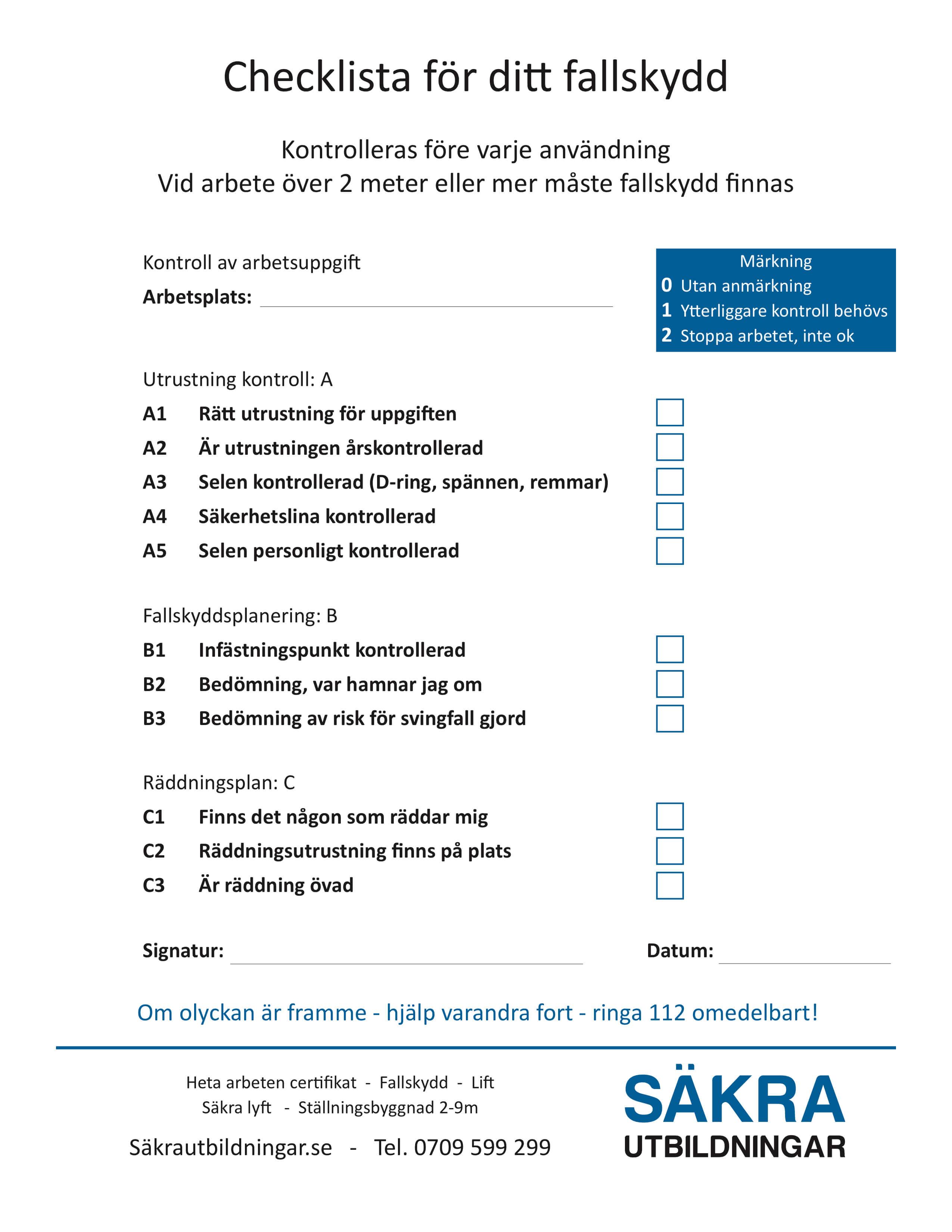 Checklista fallskydd | Säkra Utbildningar