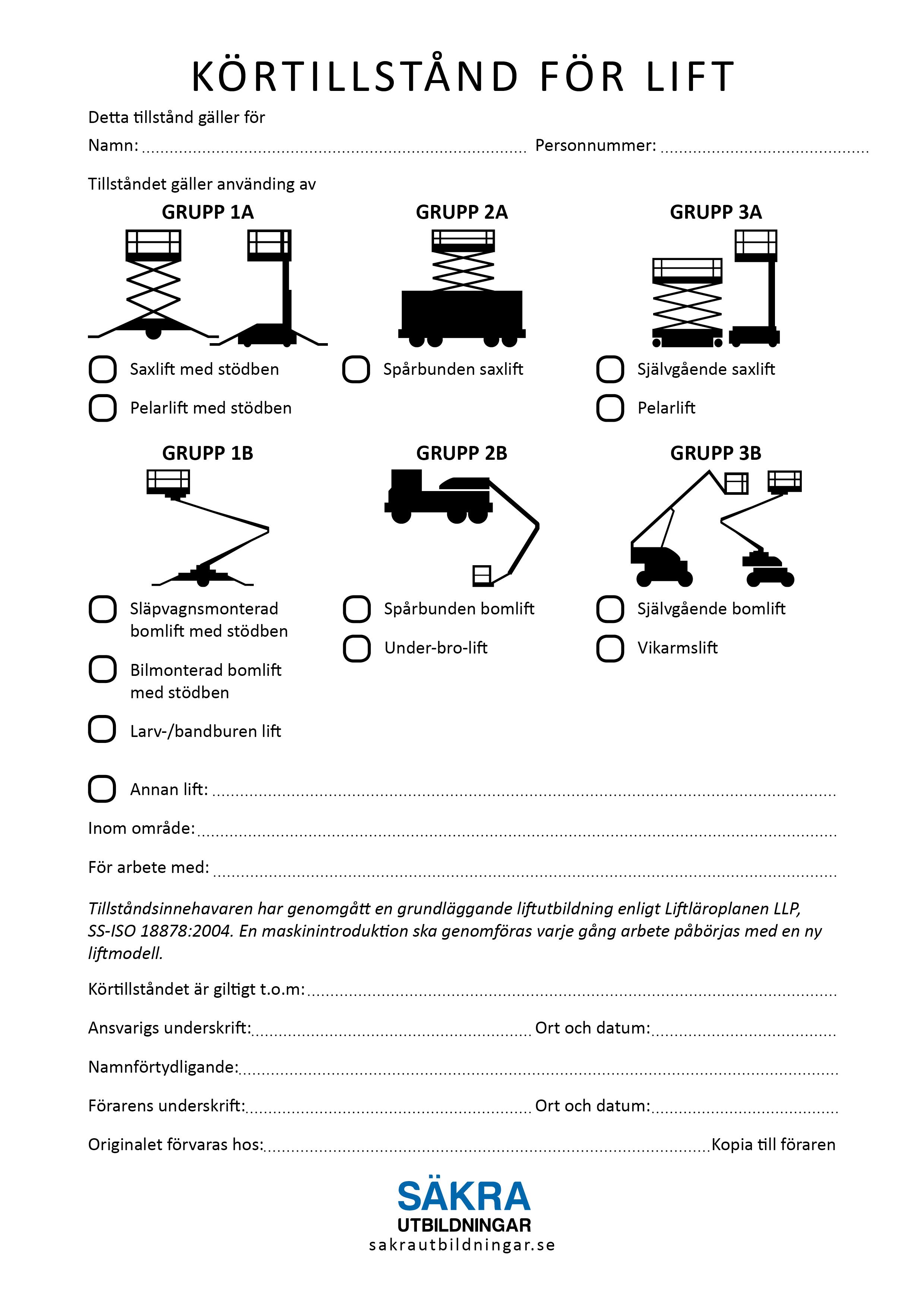 Körtillstånd för lift | Säkra Utbildningar